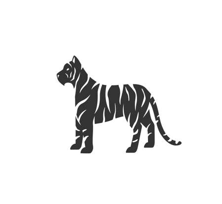 Tiger silhouette vector illustration. Black and white striped wild cat . Isolated on white background
