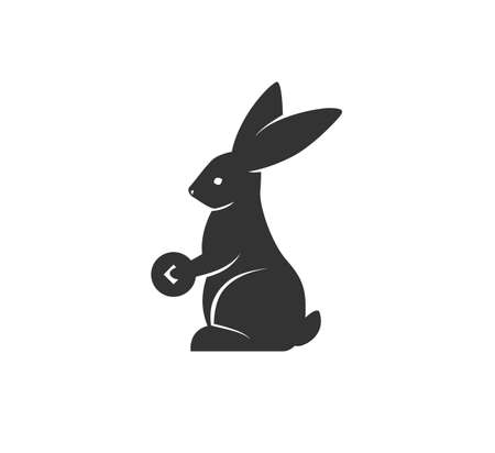 Rabbit silhouette holding coin vector illustration. Black and white bunny  . Isolated on white background
