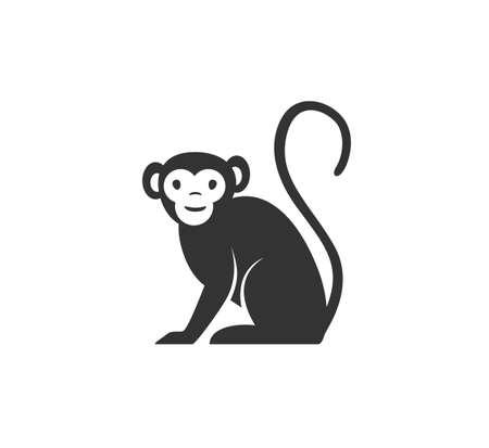 Monkey silhouette vector illustration. Black and white ape  . Isolated on white background Ilustrace
