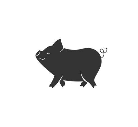 Pig silhouette vector illustration. Black and white happy pork  in simple cartoon flat style. Isolated on white background Ilustrace