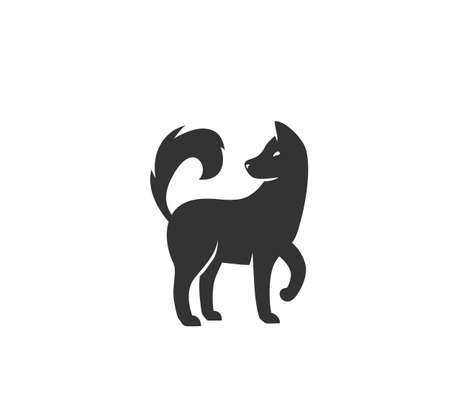 Dog silhouette vector illustration. Black and white puppy  in simple flat style. Isolated on white background Ilustrace