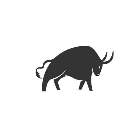 Ox silhouette vector illustration. Black and white bull  in simple flat style. Isolated on white background