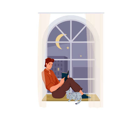 Man reading book vector background. Male character comfortable sitting on a windowsill with cat pet and read literature. Cozy modern interior. Concept design of reader