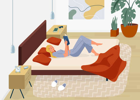 Woman reading book vector background. Relaxed girl comfortable lying down on the bed with blanket and read inside her bedroom. Cozy modern home interior. Concept of homeward and comfort