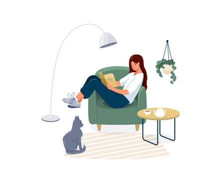 Woman reading book vector background. Relaxed girl comfortable sitting on the armchair and read, isolated on white backdrop. Cozy modern home interior with cat pet. Concept of homeward and comfort