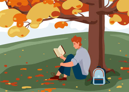 Man reading book vector background. Male character comfortable sitting on the grass under big tree with backpack and read literature. Cozy modern autumn illustration. Concept design of reader outside