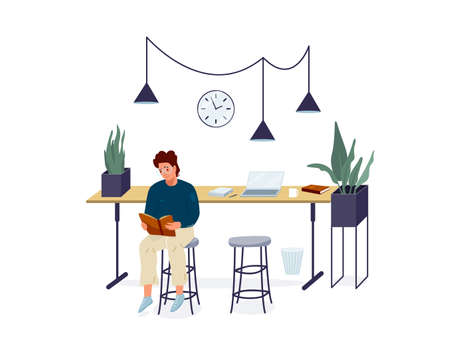 Man reading book vector background. Male character wearing glasses comfortable sitting on a chair and read literature. Cozy modern interior. Concept design of reader