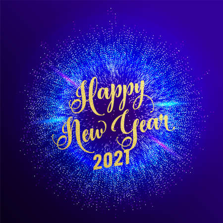 2021 happy new year holiday vector background. Greeting lettering text with gold glitter texture. Dark blue round firework explosion pattern at the center