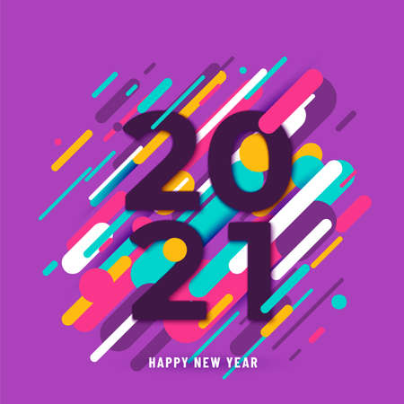 2021 happy new year big numbers with color abstract graphic lines background. Winter holiday greeting motion graphic design. Minimal cover template. Vector illustration