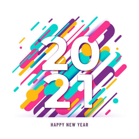 2021 happy new year big numbers with color abstract graphic lines background isolated on white. Winter holiday greeting motion graphic design. Minimal cover template. Vector illustration