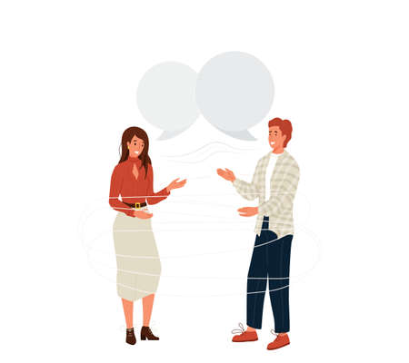 Pair people talking vector background. Young couple man and woman laughing and communicate. Speech bubble over characters. Illustration communication between human in modern flat cartoon style