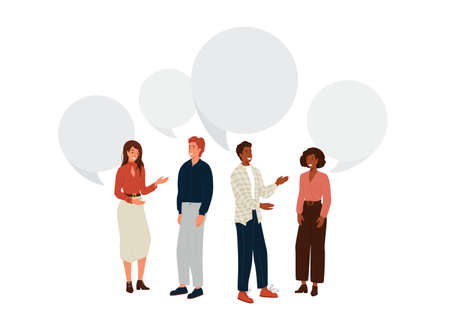 People talk vector background. Young man and woman stand together and communicate. Speech bubble over characters. Design illustration business community in modern flat cartoon style Vettoriali