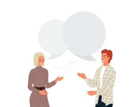 Couple people talking vector background. Young couple man and woman laughing and communicate. Speech bubble over characters. Illustration communication between human in modern flat cartoon style