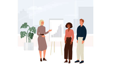 Female company coach holds a business meeting. Young woman explains chart to people in the office building near the window viewing to the city. Vector illustration in cartoon flat style