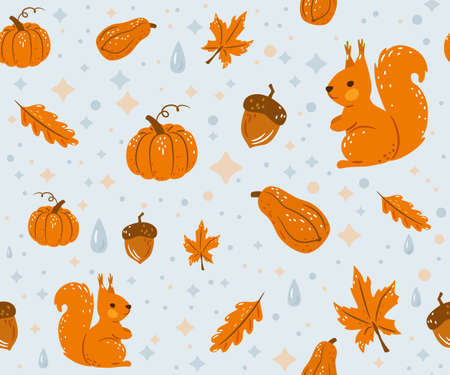 Autumn seamless pattern vector background with happy squirrel, water drops, fall leaves, acorns and pumpkins Vettoriali