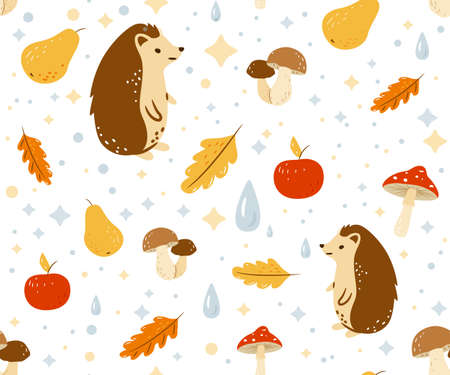 Autumn seamless pattern vector background with happy hedgehog, water drops, fall leaves, apple, pear and mushrooms