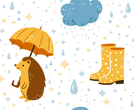 Autumn seamless pattern vector background with happy hedgehog walking under rain holding big yellow umbrella, blue clouds and polka dot yellow rubber boots