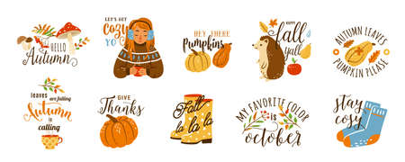 Autumn cozy quotes vector illustration set isolated on white background. Cute cartoon fall sticker with hedgehog, sweet girl with hot tea, yellow rubber boots, socks, mushroom and other