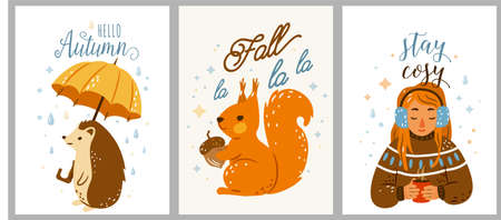 Autumn cool cozy vector illustration set with sweet quotes. Happy hedgehog walking under rain holding big yellow umbrella. Cute squirrel keep acorn. Pretty girl listen music and drink hot tea Vettoriali