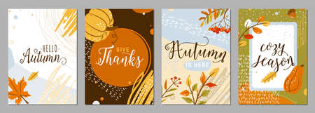 Autumn posters set vector background. Autumn-time season banners in whimsical memphis modern flat style with greeting text quotes, texture graphic elements. Creative modern flat fall celebration card Vettoriali