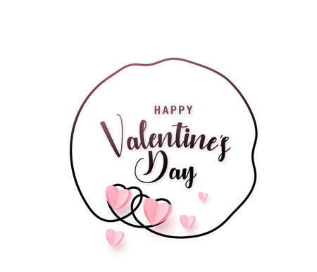 Continuous uneven sketch line heart round shape frame with realistic paper heart and greeting happy valentine day text isolated on white background. Love border pattern invitation design
