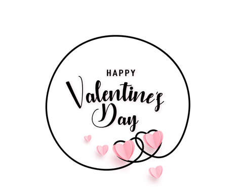 Continuous line heart round shape frame with realistic paper heart and greeting happy valentine day isolated on white background. Love border pattern for valentines, women, mother invitation design