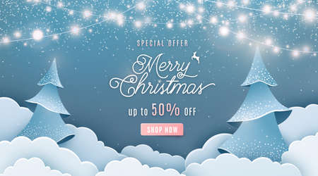 Merry christmas sale 50 off vector background. Winter holiday discount ad banner with light garland, spruce fir tree, clouds, falling snow texture effect and offer text in papercut style