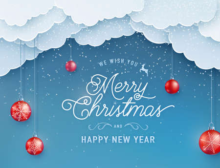 Merry christmas happy new year vector background. Winter holiday banner with red decoration ball on the string, sky clouds on the top, falling snow texture effect and greeting text in papercut style Vettoriali