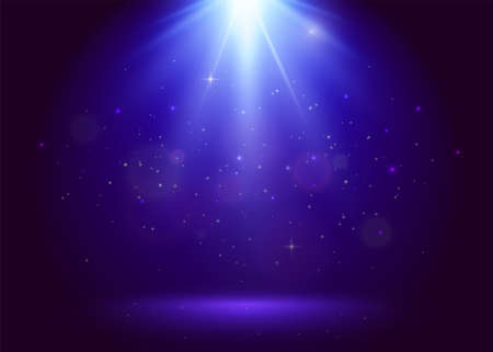 Blue award vector background with top flood light, stage and golden glitter particles. Magic night starry pattern