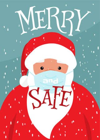 Cute christmas santa claus face in medical mask prevent covid diseases. Lettering text quote Merry and safe. Vector winter holiday poster background 矢量图像