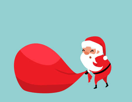 Christmas Santa Claus pulling a huge red bag of gifts with difficulty. Place for your text. Winter holiday mood vector background