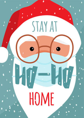 Cute christmas santa claus face in medical mask prevent covid diseases. Lettering text quote stay at ho-ho home. Vector winter holiday poster background