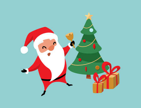 Christmas Santa Claus jumping near christmas tree and gifts and ringing the bell. Winter holiday mood vector background 矢量图像