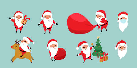 Christmas Santa Claus vector set. Cute cartoon winter holiday characters in various situation on reindeer, jumping near christmas tree, pulling big red bag, covid mask. Isolated on blue background 矢量图像