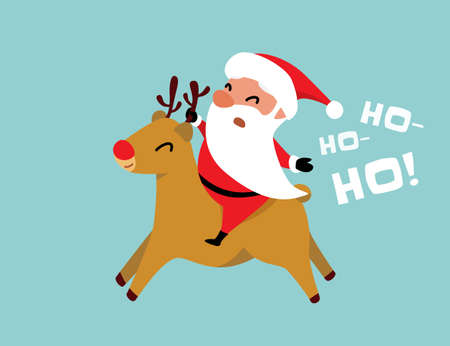 Christmas Santa Claus rides a reindeer and shouts ho-ho-ho. Winter holiday mood vector background