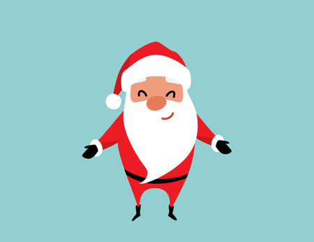 Cute christmas Santa Claus with arms raised for a hug. Winter holiday mood vector background 矢量图像