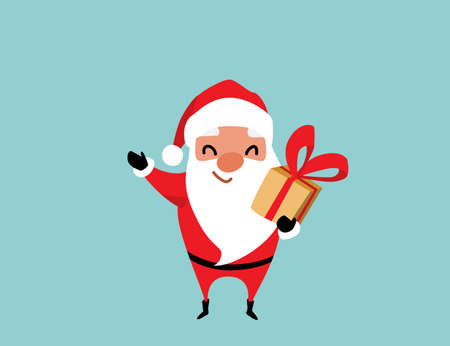 Cute christmas Santa Claus waves with one hand and the other holds a gift. Winter holiday mood vector background