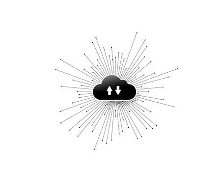 Computer cloud service technology vector background. Two multidirectional arrows. Cloud storage illustration with abstract connect lines and dots converge in the center. Isolated on white backdrop