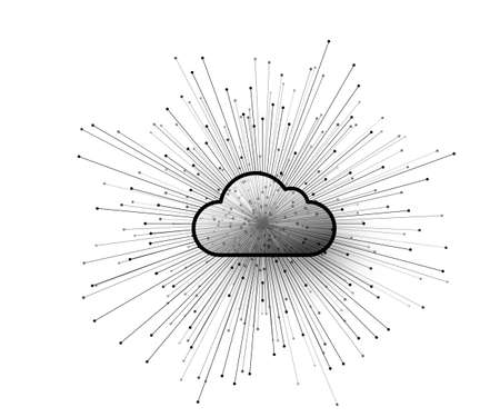 Computer cloud service technology vector background. Cloud storage illustration with abstract connect lines and dots converge in the center. Isolated on white backdrop Vettoriali