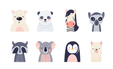 Cute animal baby faces set vector illustration. Hand drawn nursery characters collection with polar bear, panda, zebra, raccoon, lemur, koala, penguin, lama. Nordic scandinavian funny kid design