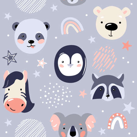 Animal baby faces seamless pattern vector illustration in simple nordic scandinavian flat style with panda, penguin, polar bear, raccoon, zebra, koala, rainbow, stars and other design elements Ilustrace