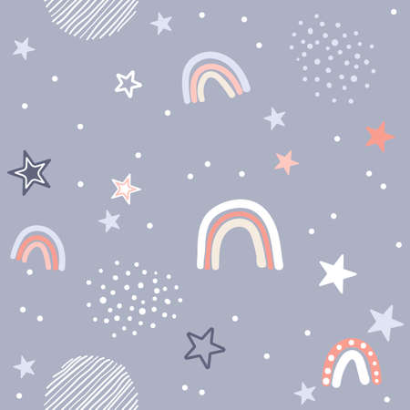 Cute seamless pattern vector illustration in simple nordic scandinavian flat style with rainbow, stars, rain, line and other design elements