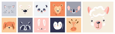 Cute animal baby face posters set vector illustration. Hand drawn nursery character card collection for graphic, print, card or poster. Trendy scandinavian funny kid design Vettoriali