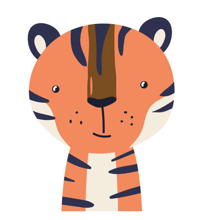 Tiger cute animal baby face vector illustration. Hand drawn style nursery character. Scandinavian funny kid design