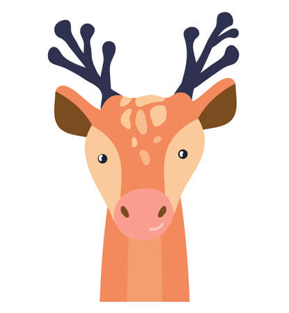 Deer cute animal baby face vector illustration. Hand drawn style nursery character. Scandinavian funny kid design