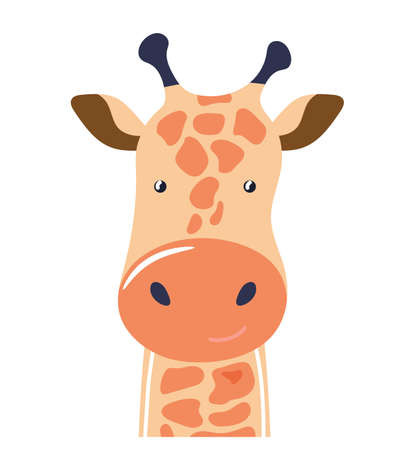 Giraffe cute animal baby face vector illustration. Hand drawn style nursery character. Scandinavian funny kid design