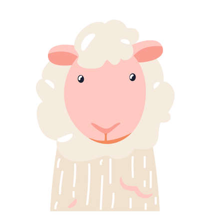 Sheep cute animal baby face vector illustration. Hand drawn style nursery character. Scandinavian funny kid design