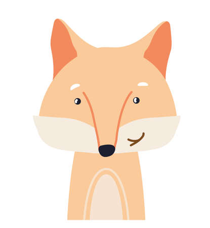 Fox cute animal baby face vector illustration. Hand drawn style nursery character. Scandinavian funny kid design