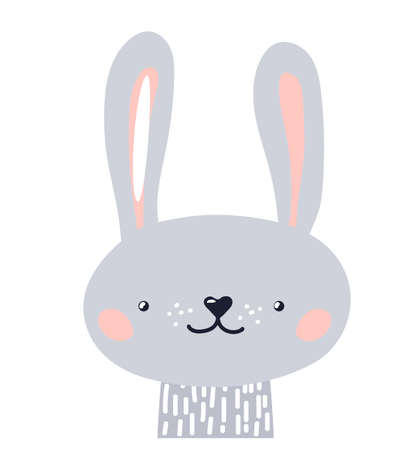 Rabbit cute animal baby face vector illustration. Hand drawn style nursery character. Scandinavian funny kid design Vettoriali