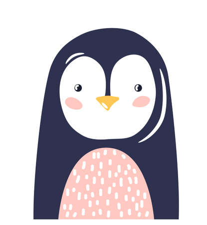 Penguin cute animal baby face vector illustration. Hand drawn style nursery character. Scandinavian funny kid design